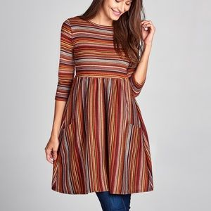 Quarter Sleeves Stripes Dress MADE IN USA